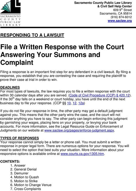 Qwr Response Letter answer to court summons template