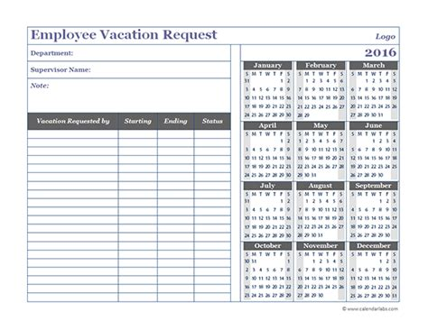 employee calendar template 2016 business employee vacation request free printable