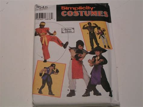 ninja uniform pattern simplicity pattern costume 9645 boys ninja warrior boys