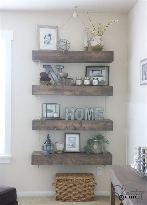10 ways to work with floating white shelves diy floating shelves with rope and pulley free plans