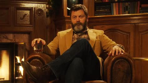 nick offerman drinking whiskey watch nick offerman drink whiskey sit silently by fire