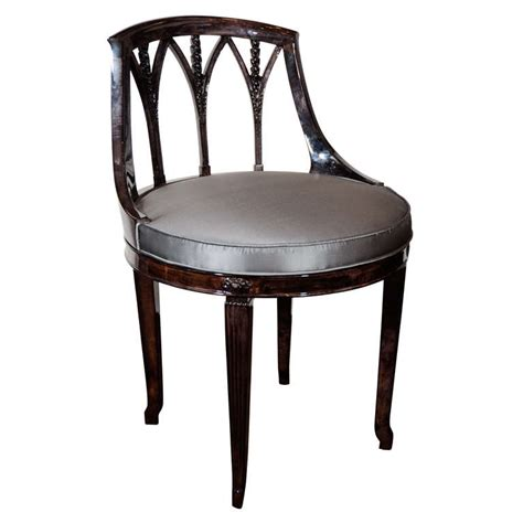 deco swivel vanity stool in ebonized walnut at 1stdibs