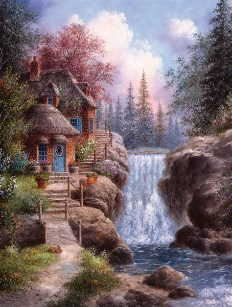house with waterfall waterfall house cottage art pinterest