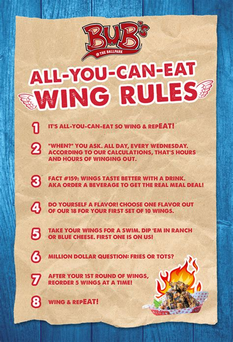 All You Can Eat For F B all you can eat wing bub s the ballpark