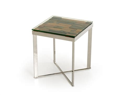 Modern End Tables For Living Room Modrest Santiago Modern Rectangular Wood Mosaic End Table End Tables Living Room