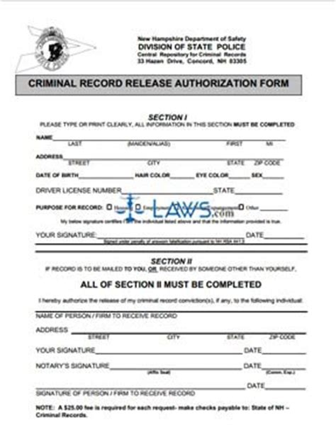 State Of Nh Criminal Record Release Authorization Form Division Of State Criminal Record Release