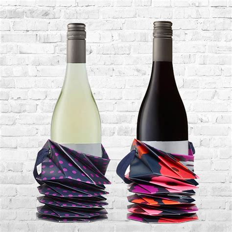 Origami Wine - set of 3 origami wine paper tote bag