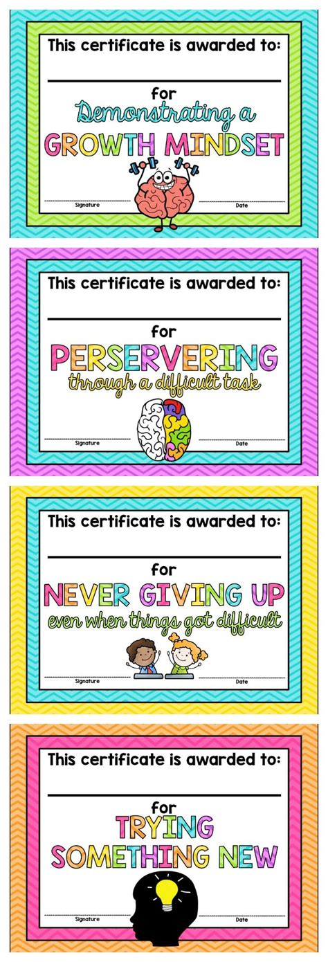 Growth Mindset Certificates Free Math Activities Pinterest Mindset Certificate And Free Growth Mindset Template