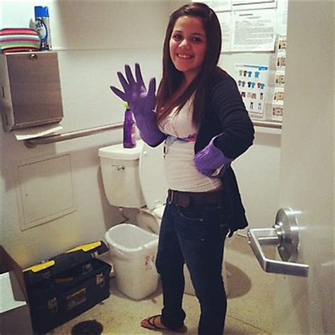 me cleaning bathroom of course in gloves