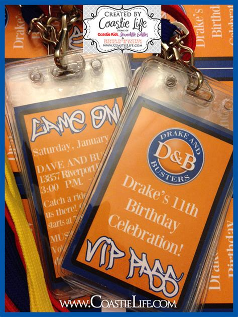 Where Can I Buy A Dave And Busters Gift Card - diy custom dave and busters inspried vip passes badges for birthday parties favors