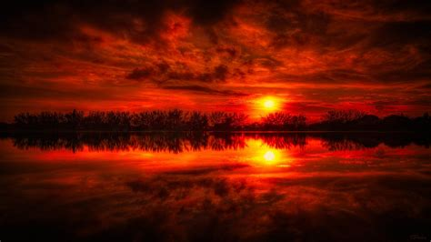red sunset peaceful lake reflections nature landscapes