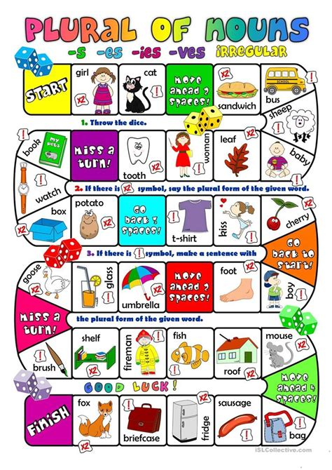Free Printable Noun Board Games | plural of nouns boardgame worksheet free esl printable