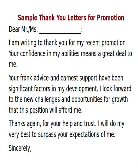 Grade Promotion Letter Sle Thank You Letter For Promotion 5 Exles In Word Pdf