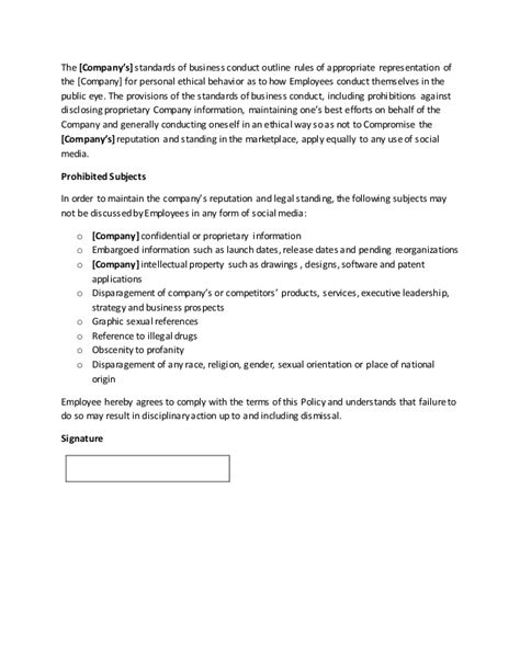 company social media policy template company social media policy template by gregg towsley