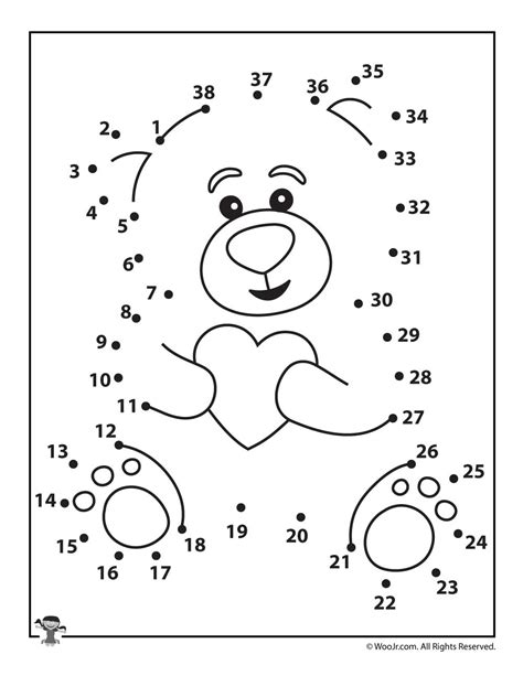 printable valentine dot to dot valentine teddy bear dot to dot woo jr kids activities