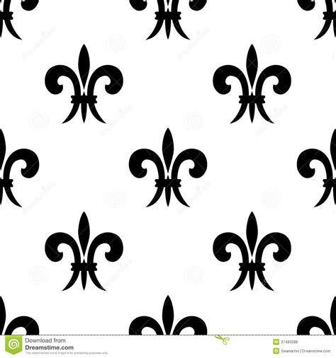 black and white french pattern repeat seamless pattern of fleur de lys royalty free stock