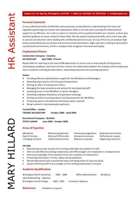 Hr Admin Assistant Sle Resume by Hr Assistant Cv Template Description Sle Candidates Human Resources Recruitment