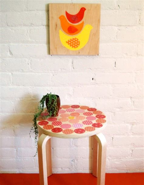 Decoupage Stool - diy project d 233 coupage stool with petit collage design