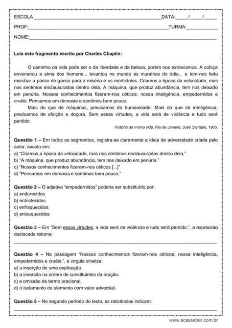 Atividade de português: Reticências - 9º ano