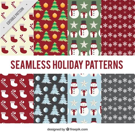 retro christmas pattern vector free vintage christmas patterns set with elements vector free