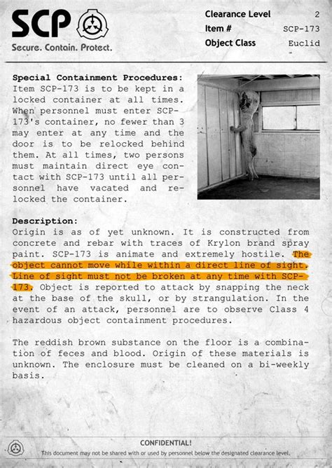 scp 173 document scp stuff foundation