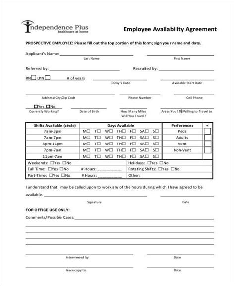 Availability Sheet For Work Template Employee Availability Form Template
