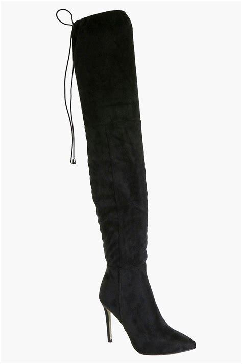 anya pointed toe thigh high boot black shopping