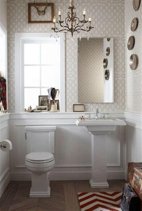 chevron bathroom ideas bathroom with wallpaper and chevron wood flooring bath