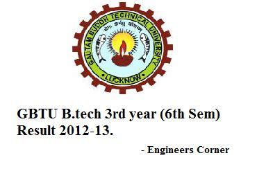 Gbtu Mba Result 2012 13 by Gbtu B Tech 3rd Year 6th Sem Result 2012 13 Engineers