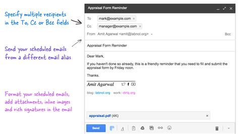 how to schedule emails in gmail for sending at a later date