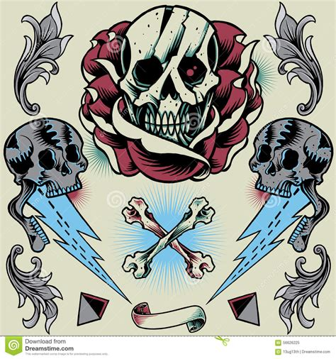 old school cross tattoo skull thunder pyramid ribbon bone cross and