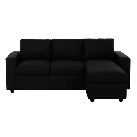 black sofa fabric 3 seater fabric corner sofa in black jules maisons du monde