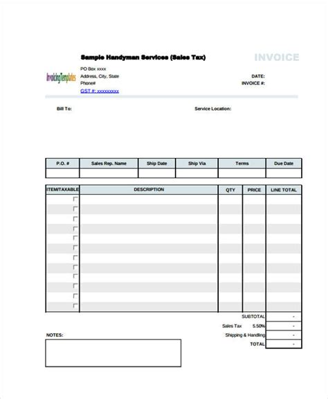 handyman receipt template 6 handyman invoice template free sle exle format