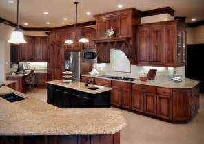 Cherry Finish Kitchen Cabinets Birch Cabinetry With Cherry Stain Finish Traditional Kitchen Kansas City By Wende
