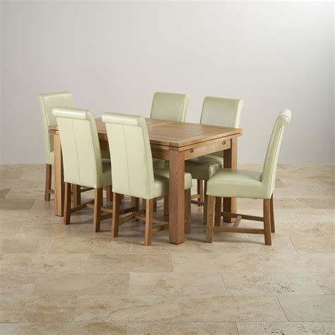 Solid Oak Extending Dining Table And 6 Chairs Dorset 4ft 7 Quot Extending Table 6 Leather Chairs