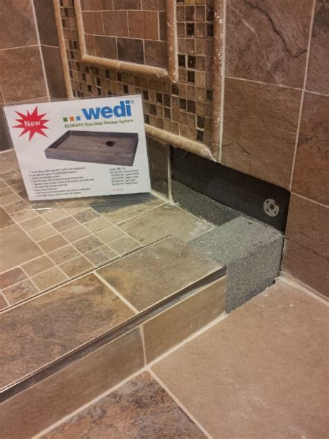 Wedi Shower Curb by Wedi Ecobath Shower Pan Shower Display