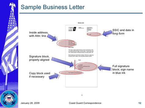 Business Letter Signature Block Exles coast guard correspondence