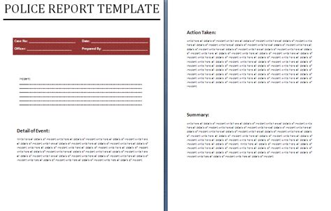 layout of a police report police report template free business templates