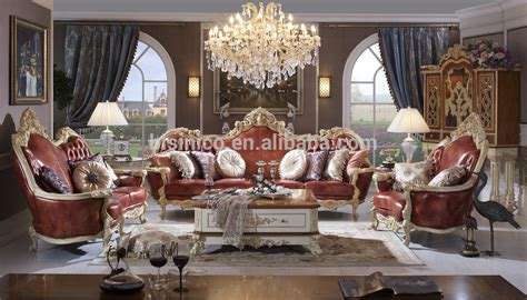 luxury solid wood leather sofa royal living room