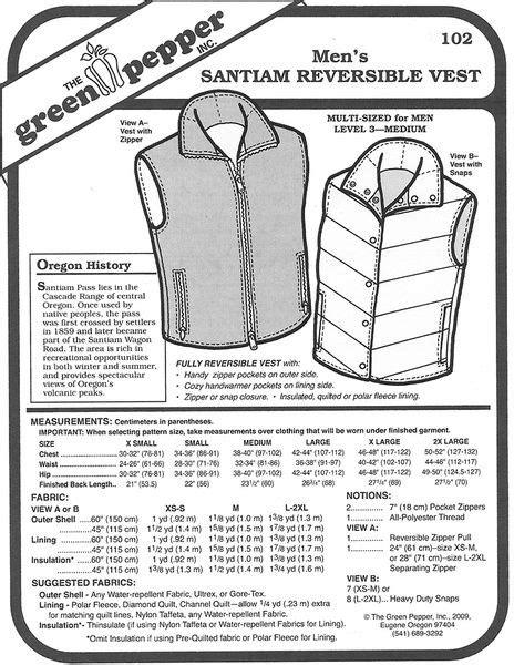 Sewing Pattern - Men's Santiam Reversible Vest Green