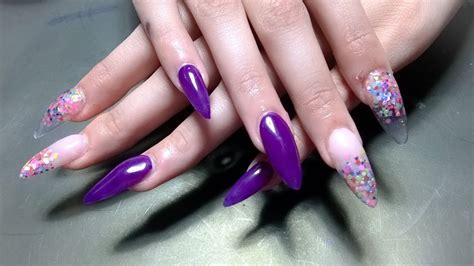 imagenes de uñas acrilicas moradas u 241 as acrilicas stilleto moradas con confetti youtube