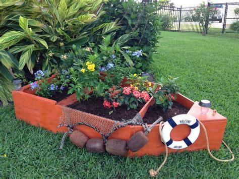 wooden boat planter boat planter nautical decor pinterest