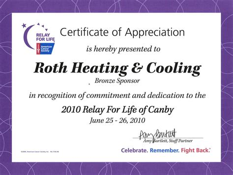 certificate of appreciation for sponsorship template community involvement roth heating cooling plumbing