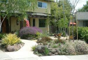 xeriscape front yard with patio gardening ideas