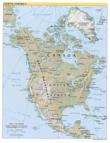 Maps Of America by Large Detailed Political And Relief Map Of North America