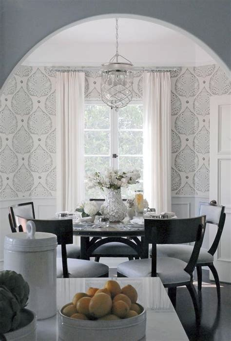 wallpaper dining room gray dining room white wainscoting design ideas