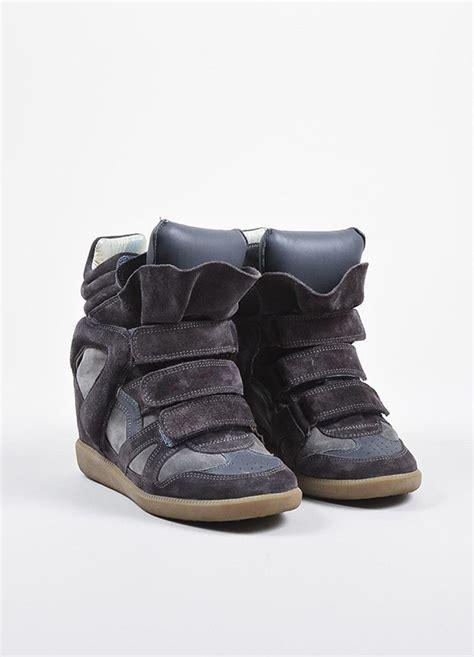 marant platform sneakers marant charcoal grey suede padded quot bekett quot wedge