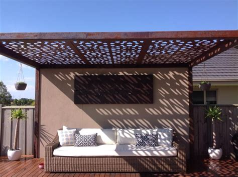 Outdoor Pergola With Laser Cut Feature Roof Panels By Pergola Shade Panels