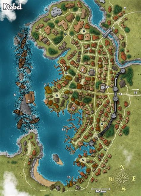 pathfinder golarion map map of the town of diobel pathfinder golarion