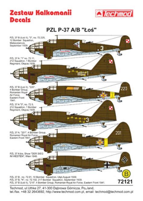 wwii 1939 bomber pzl 37 ã å losã books techmod decals 187 72121 pzl 37a b łoś